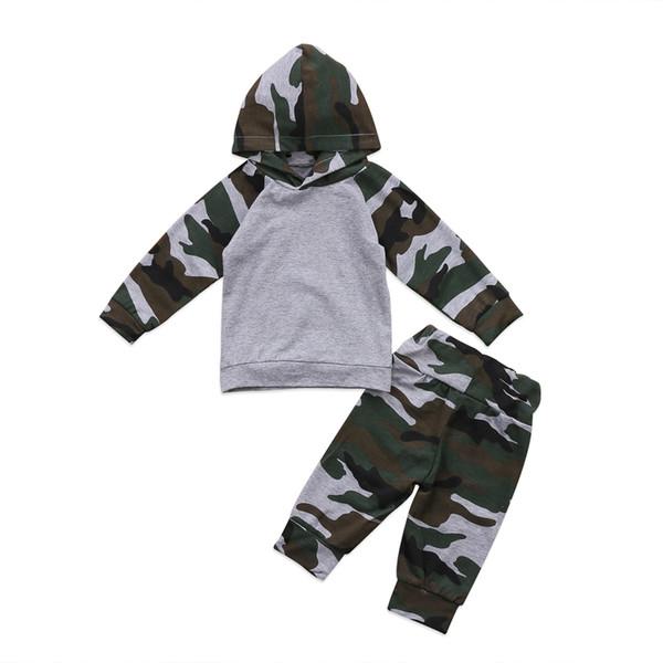 Pudcoco 2Pcs Vêtements Set Nouveau-né Bébés garçons Pantalons camouflage Haut à capuche + Tenues Set Vêtements de Noël Préchauffage