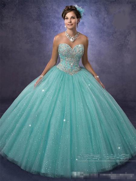 vestidos de 15 anos with Free Bolero and Sweetheart Neckline Aqua Quinceanera Dresses 2019 Cheap Princess in Sparkling Tulle Custom Made