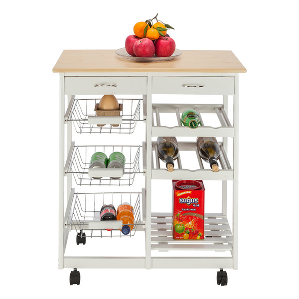 2019 Sonyi Rolling Trolley Cart Kitchen Storage Island Moveable Kitchen Cart With Two Drawerstwo Wine Racksthree Baskets 4 Tier Wood White From