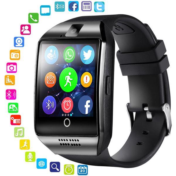 블루투스 스마트 시계 남성 터치 스크린 Q18 태블릿 안드로이드 전화에 대 한 TF 스마트 카드 카메라 지원 Smartwatch