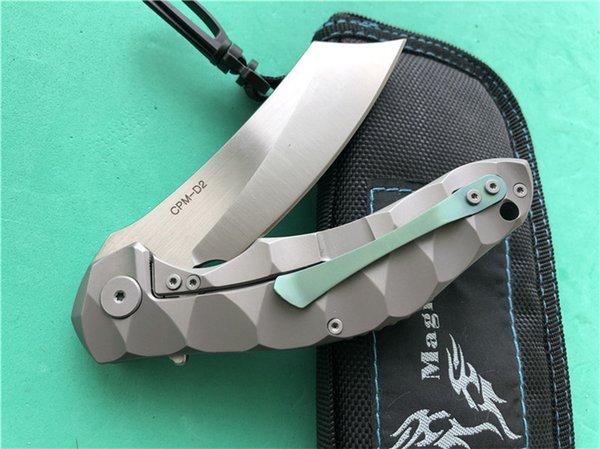 Magic Chaves Large rasoio tattico Flipper con cuscinetti a sfera Coltello pieghevole CPM-D2 lama TC4 titanium Camping Survival Knives Attrezzo esterno P373F Q