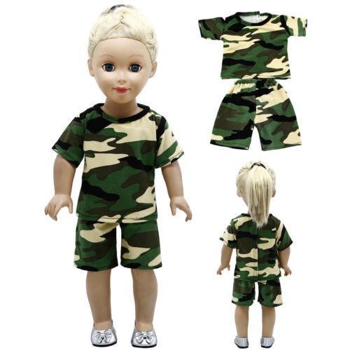 Venda quente 5pcs camuflar vestido da boneca roupas se encaixa 18 polegadas 43cm bonecas artesanais partido Vestido Baby Doll