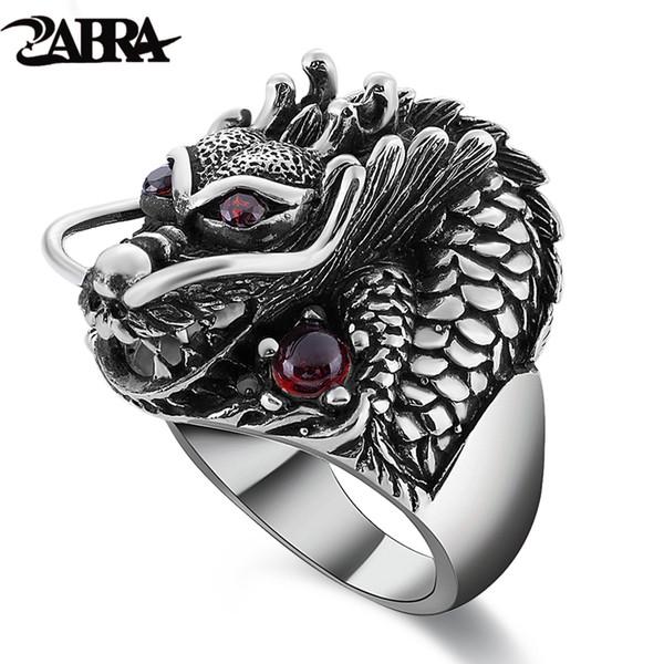Zabra 100% Solid 925 Sterling Silver Dragon Red Zircon Eye Domineering Men Ring Vintage Punk Retro Big Gothic Ring Men Jewelry J190716