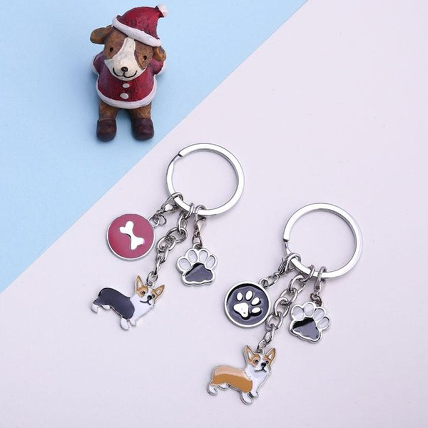 DIY welsh Corgi Samoyed Key Chain dogs Key Ring Jewelry Women dog feet Pendant Bones tags Charm Lovers Dog Best friend's gift