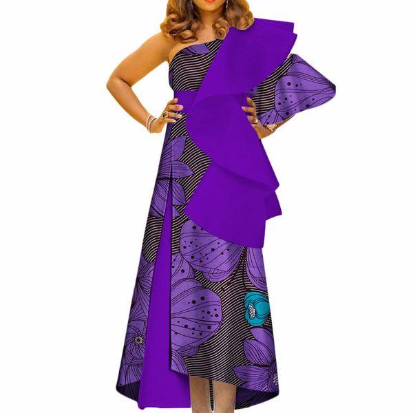 Compre Nueva Ropa Africana Bazin Riche Vestidos Largos Estampados Africanos Para Mujer Vestido De Fiesta Vestidos De Un Solo Hombro De Algodón Wy3447