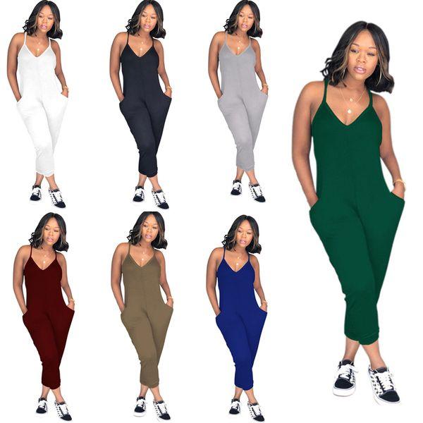 Plus Size Summer Women Sleeveless Romper V Neck Strap Overalls Wide Legs Pants One Piece Tank Jumpsuit Loose Pants Clubwear Playsuit C51413