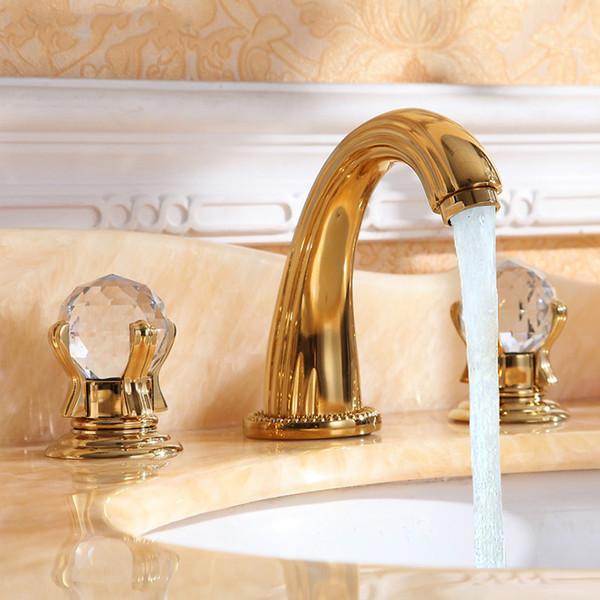 3 peça Set Wash Basin Mixer luxo latão banhado a ouro de alta qualidade punho de cristal bacia torneira da pia torneira frete grátis