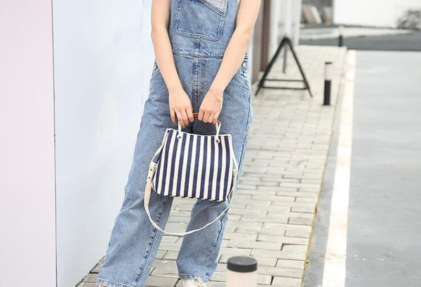 2019AANew femmes coréennes portant simple déplacements professionnels porte-documents OL mode une toile de l'épaule Sacs bagBeach