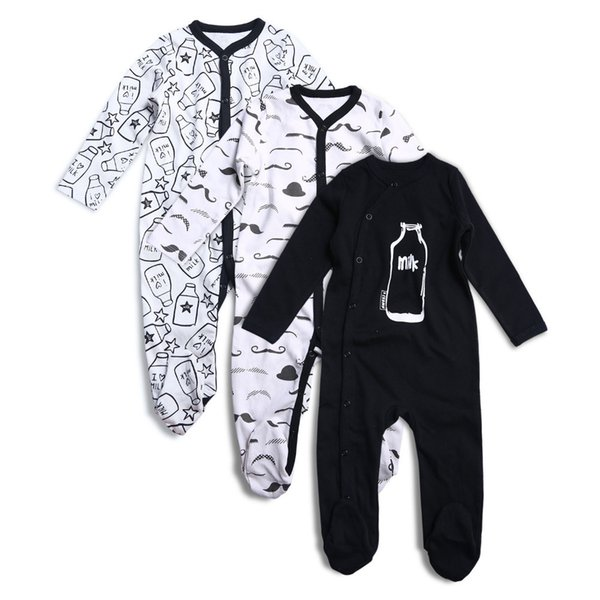 3pcs Newborn Baby Boy Girl Rompers Long Sleeve Cotton Embroider Jumpsuit Unisex Baby Clothing Set Kids Pajamas Sets Printed J190524