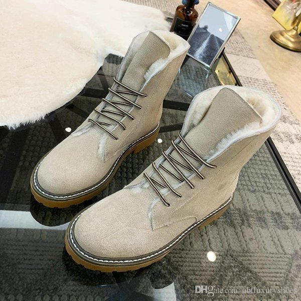 Womens Snow Boots Faux Suede Ankle Plus Velvet Classic Warm Fur Plush Lace-Up High Top Boots Shoes Zapatos de hombre Winter Casual Shoes