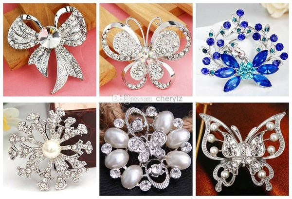 Pop Wedding Bouquet Butterfly Brooch Silver Rhinestone Flowers Brooches Pins Gift Different Styles Christmas Gift -P