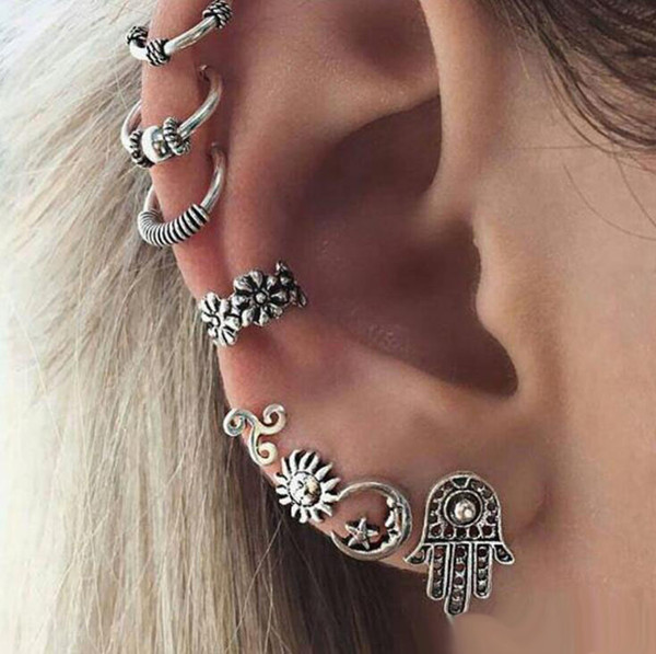 New Punk Style stud Earring Sets For Women Ethnic Bohe Silver Color Ear Clip Sun Moon Star Palm Flower Earrings