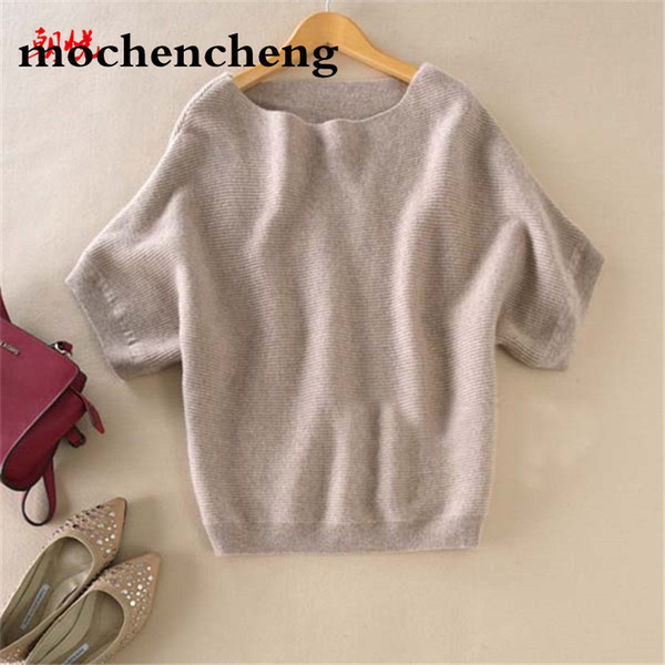 2019 spring sweater slash neck cashmere sweater loose plus size batwing sleeve knitted wool sweater short-sleeve women pullover
