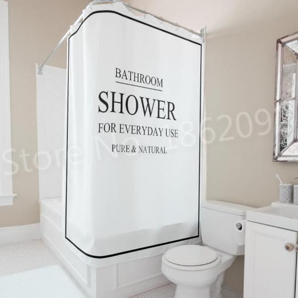 Douche de rideau de salle de bains moderne noir blanc de Bath de salle de bains pour l'usage quotidien rideau de douche réglé nordique imperméable 180x180cm