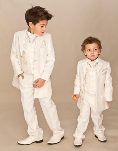 Custom Made Ivory Boys Formal Wear For ring bearer suits 3 piece four button long sleeves Shawl Lapel Formal Suit Tuxedo for Kids Tuxedo
