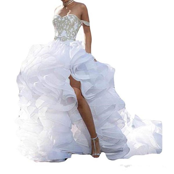 Sexy Sweetheart Side Slit Wedding Dresses for Bride Appliques Bridal Gowns with Rushed Tulle Train A Line Wedding Dresses