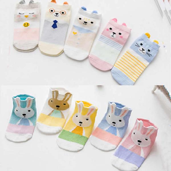 5pair Kids Infant Socks Cotton Boys Girl Cute Cartoon Animal Tie Rabbit Toddler Socks For Girls 3d Dimensional Cartoon Boy Socks