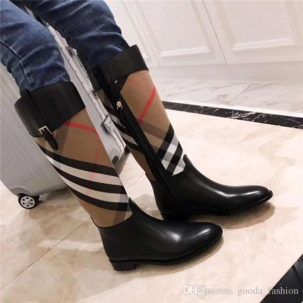 Famoso diseñador estilo principal El estilo único lidera la moda de las mujeres con botín en el muslo, zapatos de mujer de tacón bajo y estilo joker.