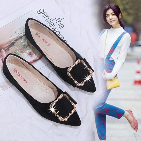 Taille 35-40 chaussures simples peu profondes métal boucle arc noeud appartements de mocassins solide orteil pointu doux ballerines bas dames chaussures de travail