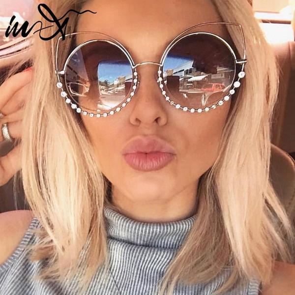 In-X 2019 Estate cat eye occhiali da sole donne eyewear di lusso strass occhiali da sole marchio designer lucido oculos de sol feminino nuovo