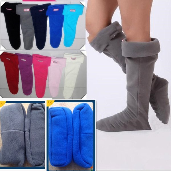 Unisex Rain Boots Socks 35-42 US Size 4-10 Fleece Boot Cuffs Winter Knee High Rainboots Sock Leg Warmer Tall Brand Rubber Boots Stockings