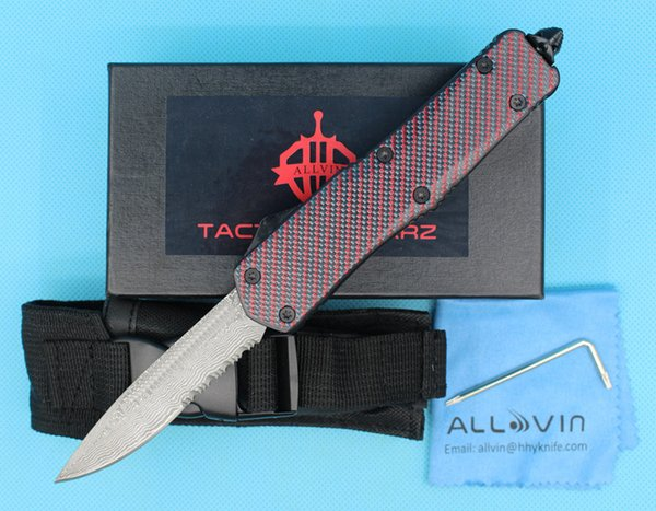 Red Dot A07 Damascus AUTO Tactical Knife Drop Point Half Serration Blade Outdoor Survival Rescue Knife EDC Tools
