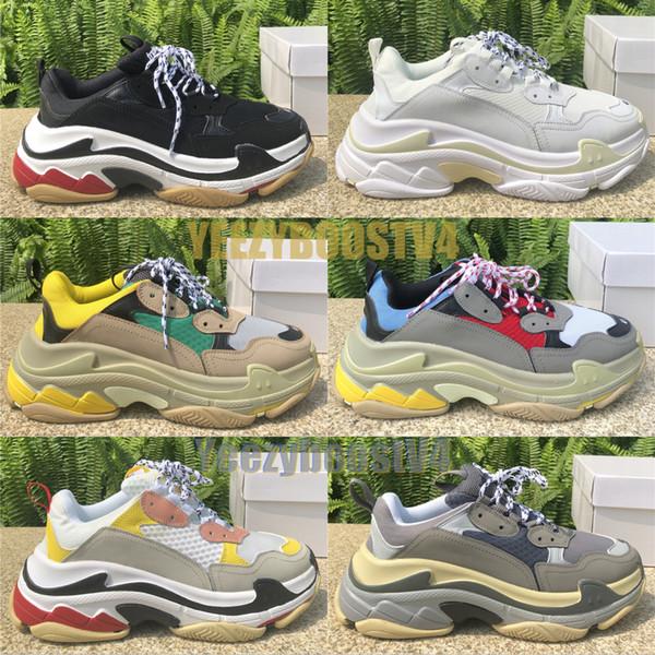 Lüks Üçlü S Üçlü Siyah Erkekler Kadınlar Beyaz Temizle Sole Moda Tasarımcısı Ayakkabı Shoes Bölünmüş Siyah Gri Rahat ayakkabılar 36-45