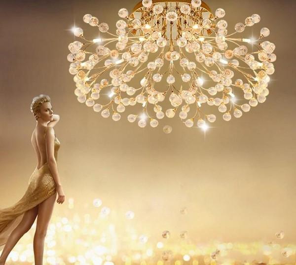 G4 Techo Comedor Lámpara Cristal Compre Sala De Circular Europa LED Dorada Creativa Tipo Estar Flor Americana De A De Plateada Lámpara Iluminación wmvON80n