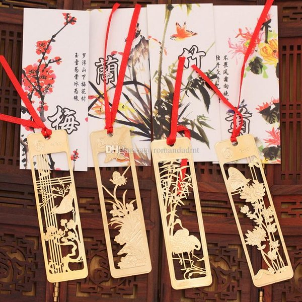 Wedding Favor Gold Bookmark Wintersweet Orchid Bamboo Chrysanthemum Metal Creative Chinese Style Hollow Bookmarks DHL Free Shipping