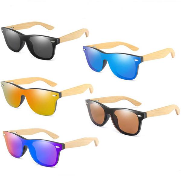 Luxury Retro Vintage Bamboo Sunglasses Wood Legs Polarized Sun Glasses Women Men Teenages Beach Outdoor Sports Color Film Glasses A52903