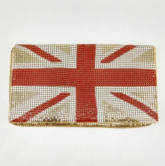 UK England National Flag Aluminum Women's Fashion Day Clutches Purse Casual Envelope Handbag Evening Bag MIL0892