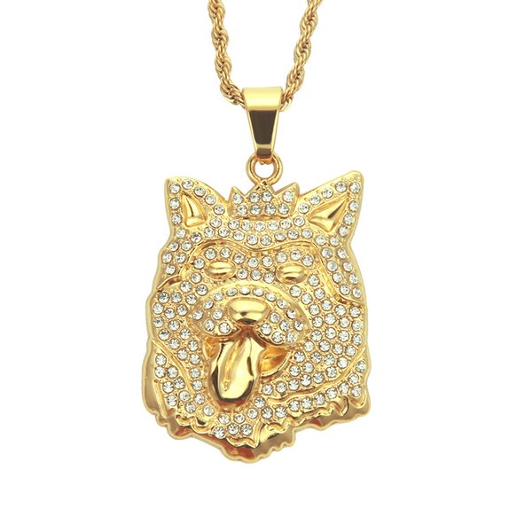 New Hip hop pendant necklace crystal animal hip hop necklace Eco-fiendly material dog head pendant jewelry factoy wholesale