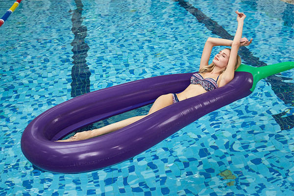 top popular Seaside Inflatable floats Swimming toys Ring Floating Bed Beach Floating Air eggplant Cushion Toy Adult Swimming Equipment Water Floating 2019