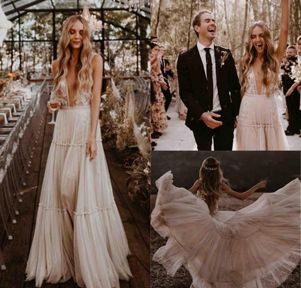 Boho robes de mariée 2019 une ligne dos nu dentelle pays jardin plage église formelle mariée robes de mariée sur mesure, plus la taille