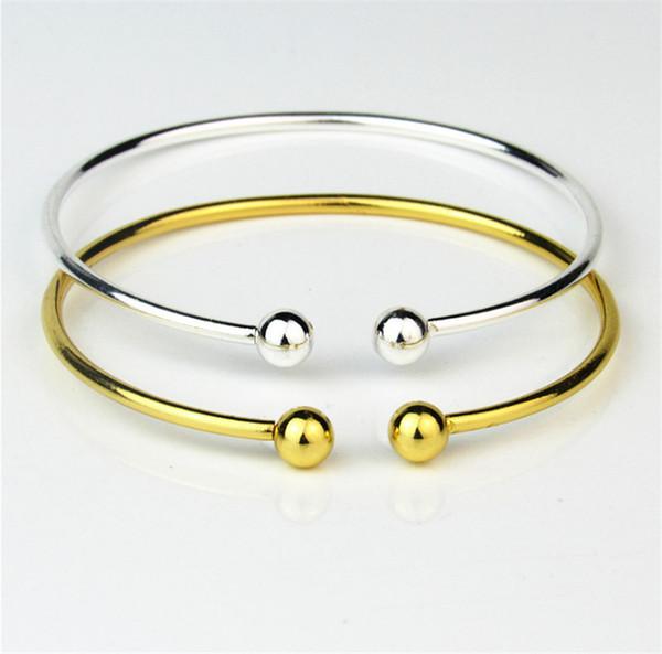 Ouverture Pas Cher C Bracelet Plaqué Argent Double Perles Cadeaux Jonc Lumineux Et Élégant Envoyer Famille Aux Amis Parti Porter Des Bijoux