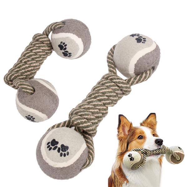 Freies Verschiffen Heißer Verkauf Hantel Seil Tennis Pet Chew Toy Puppy Dog Saubere Zähne Trainingsgerät