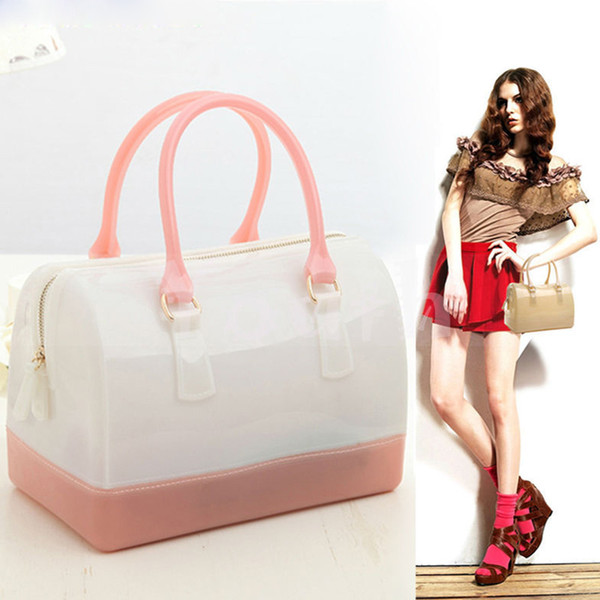 Designer-Wholesale-Fashion Womon Jelly Clear Bucket Bag PVC Silicone Candy Shell Handbag Purse Clutch Patchwork Tote Waterproof - J2138
