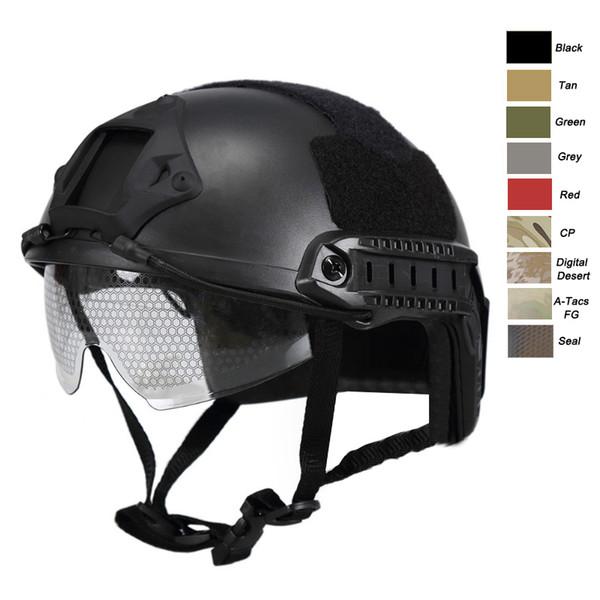 Equipamento ao ar livre Airsoft Paintabll Tiro Capacete Cabeça Proteção Engrenagem ABS Simples Versão MHFast Capacete Tático com Óculos NO01-006