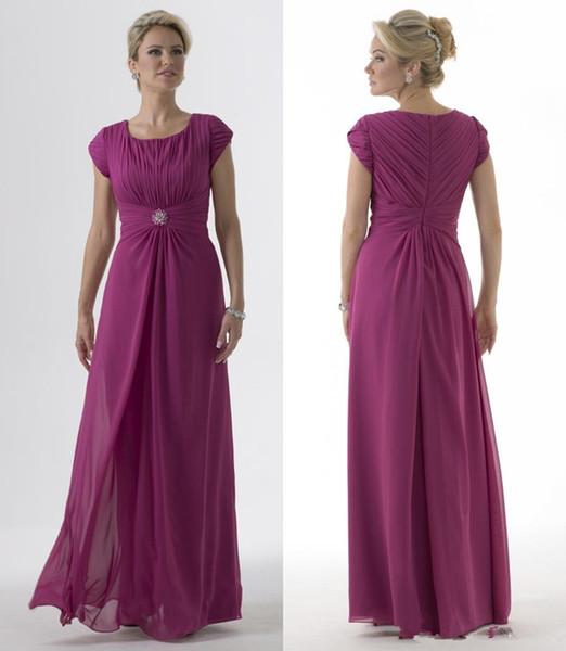 5d334ab9b7 uva gasa vestidos de dama de honor largo y modesto 2019 con mangas cortas  pliegues cuello