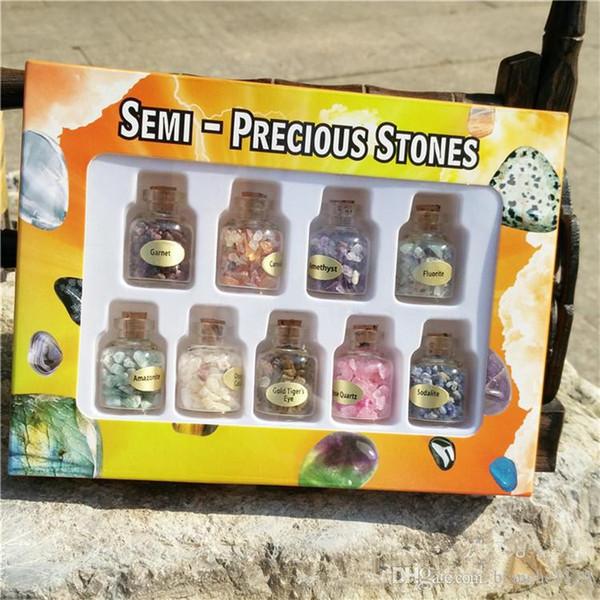 Materiale didattico minerale dell'esemplare della pietra preziosa di cristallo naturale che desidera bottiglia 9 bottiglie / scatola di pietra schiacciata quarzo agata all'ingrosso
