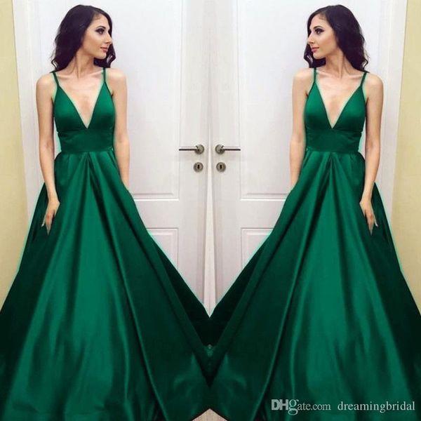 Vestidos de baile para mujeres de talla grande esmeralda verde Empire Vestidos para ocasiones especiales Cuello en v Elegante Vestidos de baile largos 2019 SP347