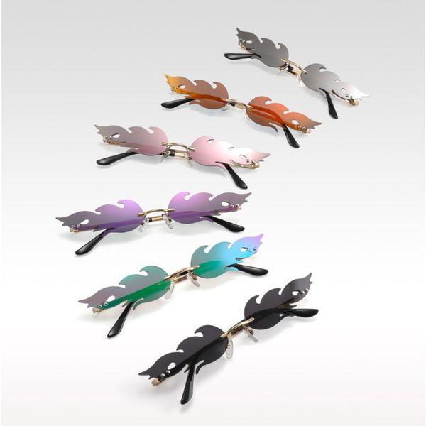 Sıcak Alev Tasarımcı Güneş Gözlüğü Serin Kadınlar Ve Erkekler Moda Güneş Gözlükleri Blaze Gözlük Çerçevesiz Renkli Lensler 6 Renkler