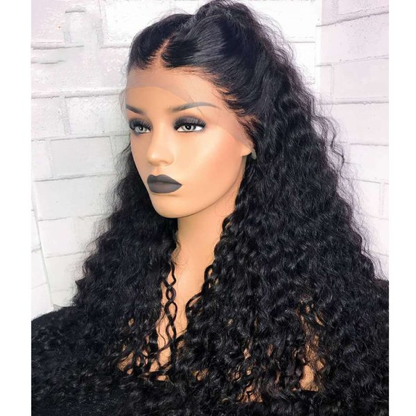 Top Quality 180% Density Black Long Kinky Curly Synthetic Lace Front Wigs with Baby Hair Heat Resistant Cheap Wigs for Women Middle Part