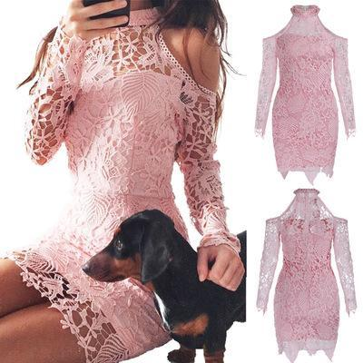 Weekend Casual Short Pink Skirt Lace Holow Out Bare Shoulders Halter Long Sleeve Dresses Free Shipping