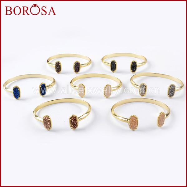 BOROSA 5PCS Gold Color Claw Hexagon Double Rainbow Titanium Druzy Open Bangle Mix Colors Drusy Bracelet Jewelry for Women ZG0344
