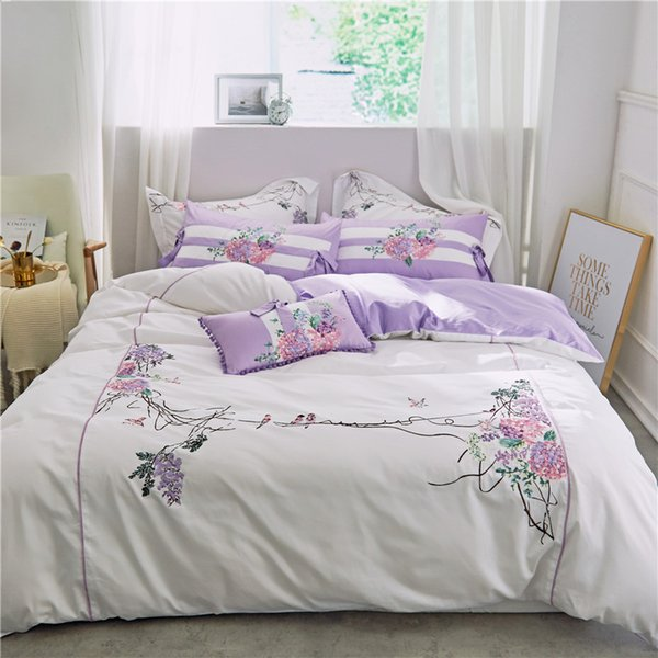 Luxury Egyptian Cotton White Purple color Queen King size Bedding Set Oriental Embroidery Duvet Cover Bed Sheet set 40