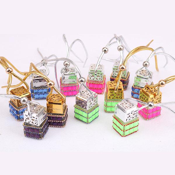 best selling Cube Perfume Bottle Diamond Perfume Glass Bottles Car Hanging Perfume Rearview Ornament Rope Pendant Empty Bottle Car Air Freshener GGGA2104
