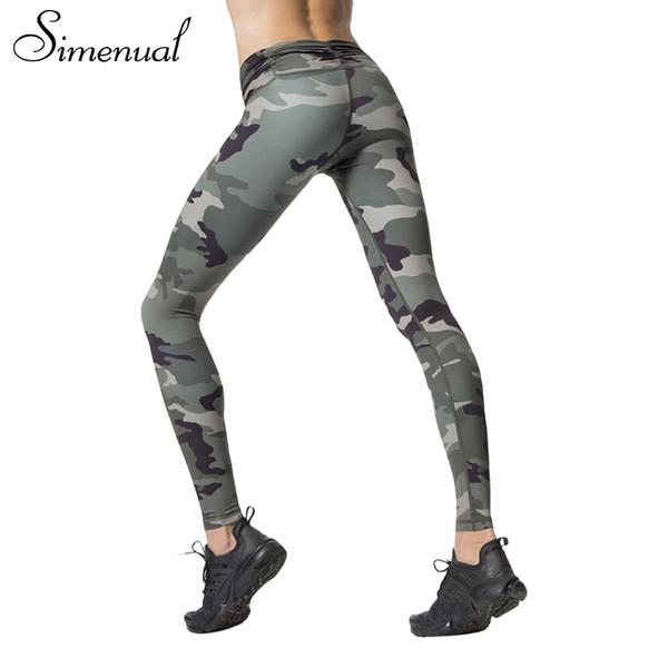 Simenual Harajuku Camouflage Print Fitness Legging Female Pants Athleisure Slim Sexy Bodybuilding Leggings For Women Legins Q190510