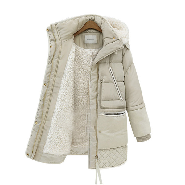 [spot] 2019 autumn and winter new fashion down jacket women's long section of foreign trade lamb hair casual down jacket
