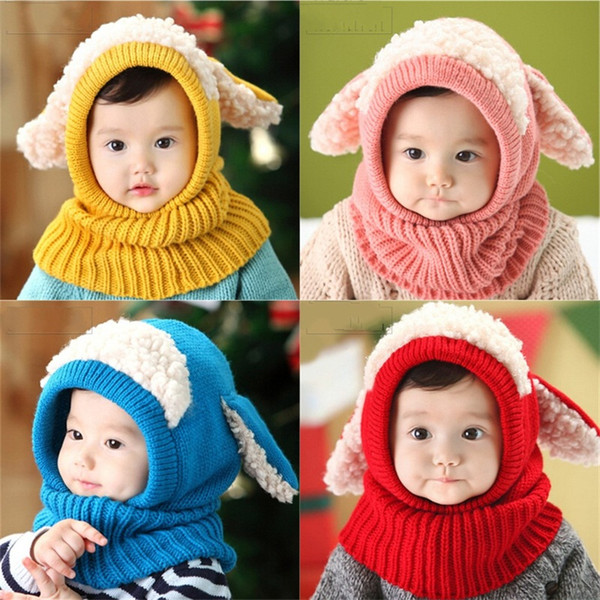 Puppy Modeling Children Beanies Winter Keep Warm Baby Woolen Hat Lovely Suit Cap With Ear 5 Colours 11 7jf D1
